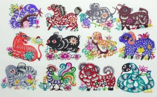 切り紙細工・十二支切り絵 (12枚セット)・中国民俗芸術品 中国雑貨