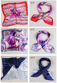 カラフル艶やかなシルク調スカーフシルクロードの起点【西安】からの贈り物美品激安60角企業制服スカーフ