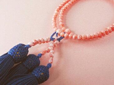 深海珊瑚本連数珠 送料無料 誕生石 珊瑚 三月 さんご サンゴ 母の日 coral 深海珊瑚 本珊瑚 還暦祝 ピンク珊瑚 35周年 安産 お守り プレゼント 贈り物