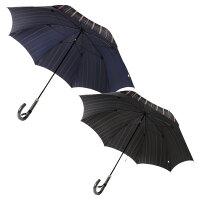 【メンズ長傘】紳士用男性用甲州織ストライプ柄ネイビーブラック65cm8本骨カーボン骨アルミ中棒木製手元絆傘処