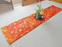 テーブルランナー【朱色に花ごよみ】西陣織敷物インテリアファブリックランナークロス和風長さ100cm