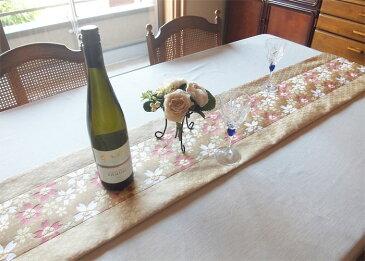 テーブルランナー【さくら華やぎ ベージュ】西陣織 金襴 敷物 インテリアファブリック 長さ180cm、 長さ変更可