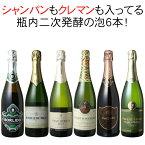 【送料無料】ワインセット シャンパン入 スパークリング ワイン 6本 セット クレマン シャンパン製法 瓶内二次発酵 家飲み 父の日 パーティー 泡好き歓喜 第20弾