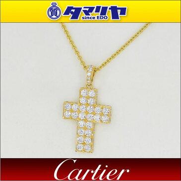 Cartier カルティエ ダイヤ スクレ ドゥ ブドゥワール クロス ペンダント ネックレス 750 K18 YG イエローゴールド【送料無料】【代引き手数料無料】レディース 十字架【中古】2784112128250302
