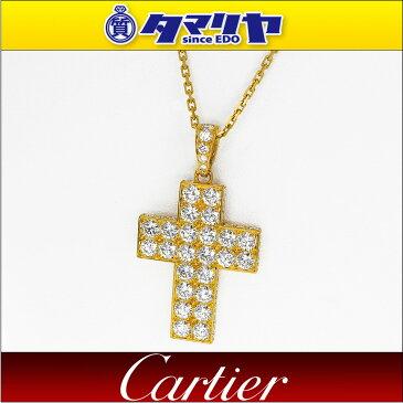 Cartier カルティエ ダイヤ クロス スクレ ドゥ ブドゥワール ペンダント ネックレス 750 K18 YG イエローゴールド【送料無料】【代引き手数料無料】 十字架【中古】30070101