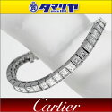 CartierカルティエスクエアダイヤクリップテニスブレスレットPt950プラチナ17cm【送料無料】【代引き手数料無料】レディースバングル【中古】28270409