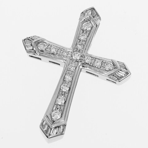 ダイヤ(D1.06ct) クロス ペンダントトップ Pt900 プラチナ【送料無料】メンズ レディス 十字架【中古】32190311