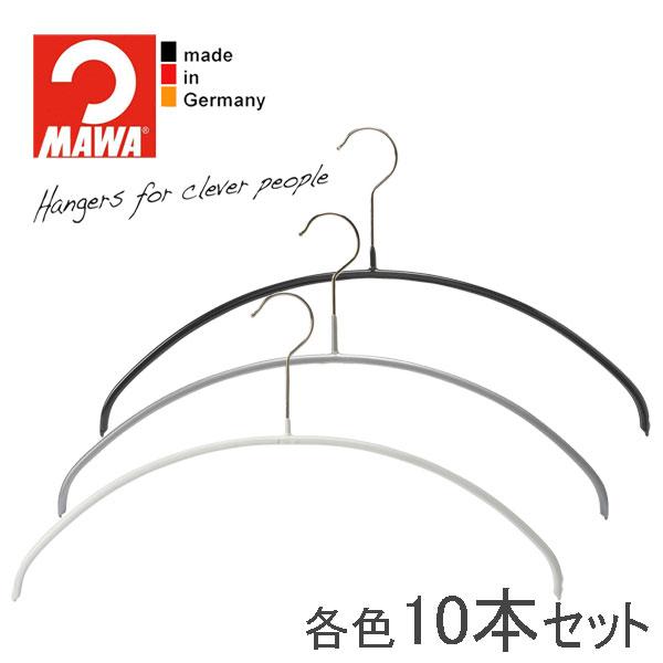 MAWAハンガー(マワハンガー)エコノミック 40P 10本セット(ブラック/シルバー/ホワイト) 40cm おしゃれ スリム 省スペース 幅広 頑丈 軽量 すべらない 型崩れしない 黒 白 まとめ買い mawa