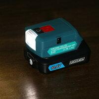 ADP08マキタ互換アダプターマキタバッテリー10.8v12v対応LEDライトランプAC入力端子付きで充電器にも!BL1015など対応キャンプ登山災害用品緊急避難用品停電予備電源USBポート付きでスマホの充電器に!