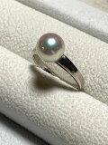【工房手作り】あこや真珠Pt900シンプルリング【送料無料】#300指輪あこやパール真珠パールPearlプラチナ