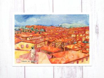 ペルージャ 街並みを眺める子供 ( ポストカード 絵葉書 絵はがき イタリア ヨーロッパ 水彩画 風景画 暑中見舞い 残暑見舞い おしゃれ 街並み 子供 )