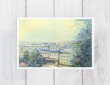 パリ モンマルトルからの眺め ( ポストカード 絵葉書 絵はがき 水彩画 風景画 おしゃれ フランス ヨーロッパ モンマルトル 街並み ノスタルジック )