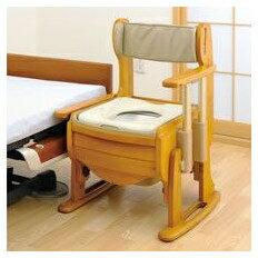 介護用品 トイレ 脱臭機能付き木製ポータブルトイレ きらく 座優 肘掛昇降 暖房便座 18730:タノシニア