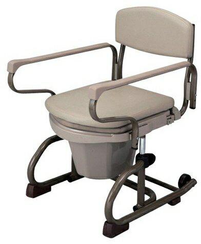 介護用品 ナーセントポータブルトイレ丸型 スチール製 両長取手型:タノシニア