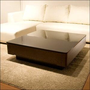 【送料無料】 スクエアタイプ リビングテーブル *Arly*  テーブル ローテーブル センターテーブル ガラス ニレ 木製 収納 引き出し 正方形 スクエア