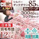 楽天【送料無料】 日本製 羽毛布団 増量1.2kg CILレッドラベル 消臭 抗菌 【SEK認定アレルGプラス 気になる臭いも改善】 シルバーダックダウン 85% シングル ロング 300dp以上 国内パワーアップ 掛け布団 かさ高 120mm以上