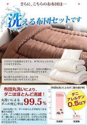 日本製洗える清潔布団3点セットシングルロング