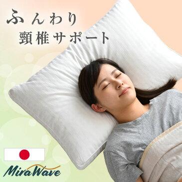 【送料無料】 日本製 3次元立体構造 枕 43×63cm 抗菌わた入り 綿100% 40サテン 頸椎サポート やわらかめ ホワイト つぶわた コットン 抗菌 ミラウェーブ ピロー 横向き 仰向け マクラ まくら 肩こり 枕首 首 マクラ
