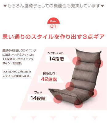 ハイバック42段段階リクライニング低反発座椅子