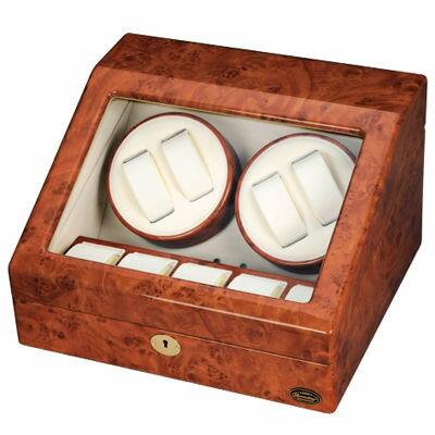【代引手数料無料】LUHW(ローテンシュラガー) 逸品が奏でる回転リズム!木製4連LEDワインディングマシーン LU30004RD:家電のタンタンショップ プラス