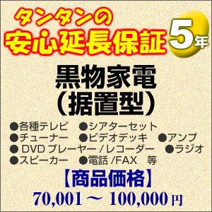 その他 5年間延長保証 黒物家電(据置型) 70001〜100000円 H5-KS-159351