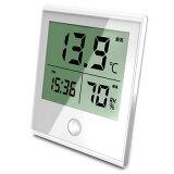 オーム電機 時計付温湿度計 ホワイト TEM-210-W-W【納期目安:3週間】