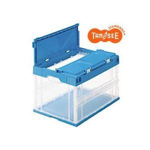 その他 (まとめ)TANOSEE 折りたたみコンテナ(フタ一体型) 50L 透明ブルー 12個 ds-973321:激安!家電のタンタンショップ