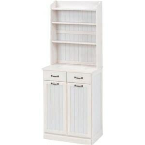 その他 ダストボックス 木製おしゃれゴミ箱 2分別 25Lペール2個付き 白(ホワイト) ds-1314395