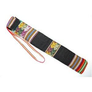 その他 【QUENA SOFT CASE BLACK AGUAYO】民族楽器ケーナ用の布・ソフトケース アンデス織物のアワイヨ柄 ブラック(黒)★ペルー製 ds-1825042