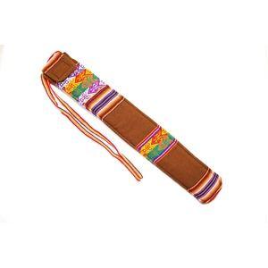 その他 【QUENA SOFT CASE BROWN AGUAYO】民族楽器ケーナ用の布・ソフトケース アンデス織物のアワイヨ柄 ブラウン(茶色)★ペルー製 ds-1825043