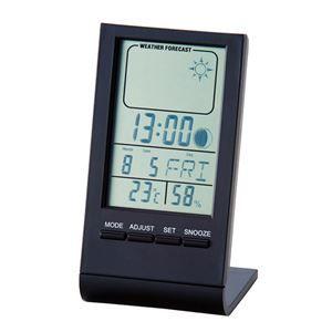 その他 ウェザースリムクロック/置き時計 【天気予報機能付き】 ムーンフェイズ機能付き アラーム・カレンダー・温度計【代引不可】 ds-1821695