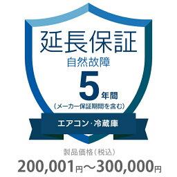 自然故障保証 5年間に延長 エアコン・冷蔵庫 200001〜300000円 K5-SA-253224