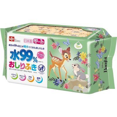 レック バンビ 純水 99% おしりふき 日本製 パラベンフリー 80枚入*3コパック 4560319045391