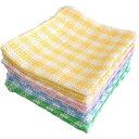 プラス ・ワン 格子織り 綿ふきん 4色(12枚入)