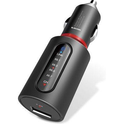 エレコム FMトランスミッター/Bluetooth/USBポート付/2.4A/おまかせ充電/4チャンネル/ブラック LAT-FMBT02BK画像