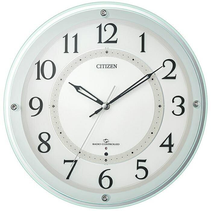 リズム時計 シチズン 電波時計 掛け時計 広範囲受信 サイレントステップ秒針 直径34.1cm 4MY859-005