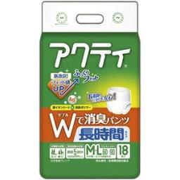 その他 (まとめ)日本製紙 クレシア アクティWで消臭パンツ 長時間タイプ M-L 1パック(18枚)【×5セット】 ds-2298738