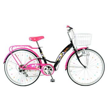 21Technology 24インチ子供用バイク(6段変速付き) (EM246-ブラック/ピンク) 4562320218320