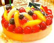 フルーツ クリスマス チーズケーキ・タルトギフト・プレゼント・スイーツ プレート キャンドル ヒイラギ