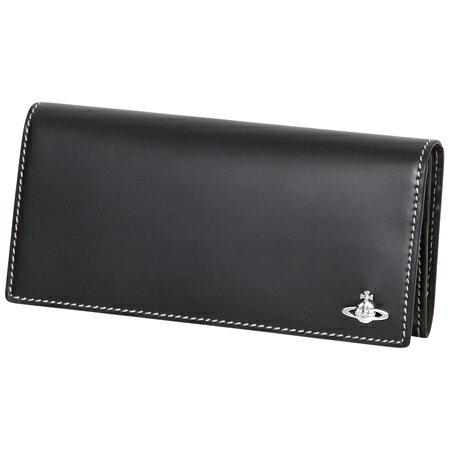 66a92c999428 ヴィヴィアンウエストウッド (Vivienne Westwood)長財布 かぶせ コントラストステッチ ブラック メンズ 送料無料!