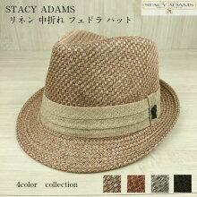STACYADAMSステイシーアダムスリネンフェドラハット中折れ帽紳士帽子カラーベージュ