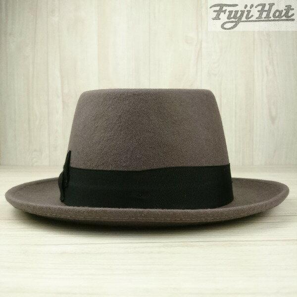 フジハット メンズ ウールフェルト 中折れハット 中折れ帽 紳士 メンズ レディース (ギフト プレゼント 父の日 母の日 クリスマス 誕生日 舞台 おしゃれ スカバンド ミュージシャン 昭和レトロ 日本メーカー フジコー) Fuji Hat カラー グレー