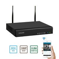 YESKAMO8CHNVR防犯録画機監視カメラ併用H.264デジタルレコーダー1080P防犯レコーダー高感度ハイビジョン画質スマートフォン遠隔監視対応防犯監視ネットワークレコーダーセキュリティー再生録画装置多種録画機能搭載HDD含めていない(一台)