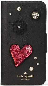 【日本在庫・即発送】ケイトスペード アイフォンケース iPhone X用   Kate spade 手帳型 ハートスパンコール iphone cases finer things folio - X 8ARU2338【iPhoneX 対応】