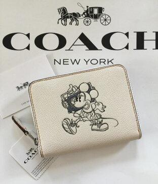 【日本在庫・即発送】コーチ×ディズニー Disney x Coach ミニーマウス ミニ財布 オフホワイト F29377