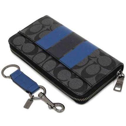 detailed look c71db d0690 COACH 55484 黑灰色藍色條紋Clogo 男用拉鍊長夾+ 鑰匙圈禮盒--售 ...