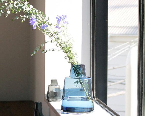 ホルムガード フローラ ベース 24cm ショート ブルー Holmegaard Flora vase 【花瓶 マウスブロウ(手吹き) フラワーベース ギフト 結婚祝い プレゼント 贈り物】