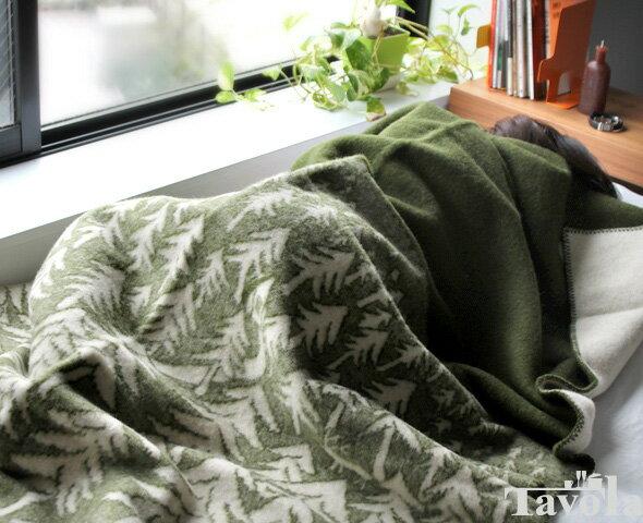 クリッパン(KLIPPAN)×ミナ ペルホネン(mina perhonen) 225102 ウールシングルブランケット ハウスインザフォレスト 130×180cm グリーン [送料無料]