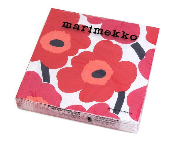 マリメッコ ペーパーナプキン ウニッコ レッド 33x33cm 20枚入り 552610 marimekko UNIKKO 【紙ナプキン】