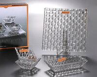 ナハトマン ボサノバ 97633 サービングセット(ボウル17cm×1/ディップボウル8.5cm×2/スクエアプレート21cm×1) 【クリスタルガラス】